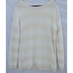 STRIPED KNIT FUZZY SWEATER